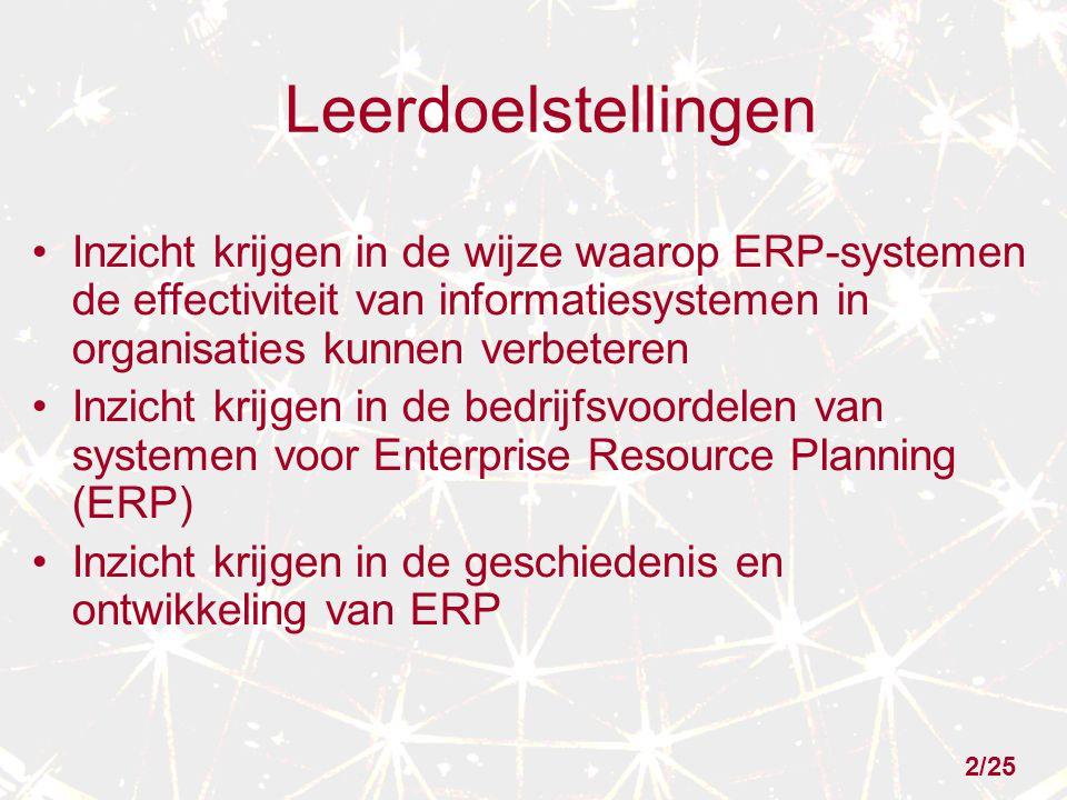 Leerdoelstellingen Inzicht krijgen in de wijze waarop ERP-systemen de effectiviteit van informatiesystemen in organisaties kunnen verbeteren Inzicht krijgen in de bedrijfsvoordelen van systemen voor Enterprise Resource Planning (ERP) Inzicht krijgen in de geschiedenis en ontwikkeling van ERP 2/25