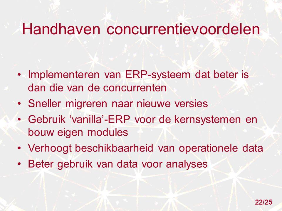 Handhaven concurrentievoordelen Implementeren van ERP-systeem dat beter is dan die van de concurrenten Sneller migreren naar nieuwe versies Gebruik 'vanilla'-ERP voor de kernsystemen en bouw eigen modules Verhoogt beschikbaarheid van operationele data Beter gebruik van data voor analyses 22/25