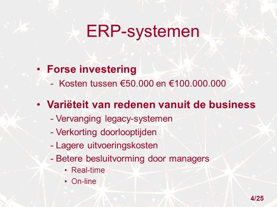 ERP-systemen Forse investering -Kosten tussen €50.000 en €100.000.000 Variëteit van redenen vanuit de business - Vervanging legacy-systemen - Verkorting doorlooptijden - Lagere uitvoeringskosten - Betere besluitvorming door managers Real-time On-line 4/25