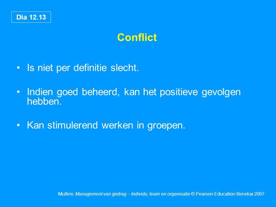 Dia 12.13 Mullins: Management van gedrag – Individu, team en organisatie © Pearson Education Benelux 2007 Conflict Is niet per definitie slecht. Indie