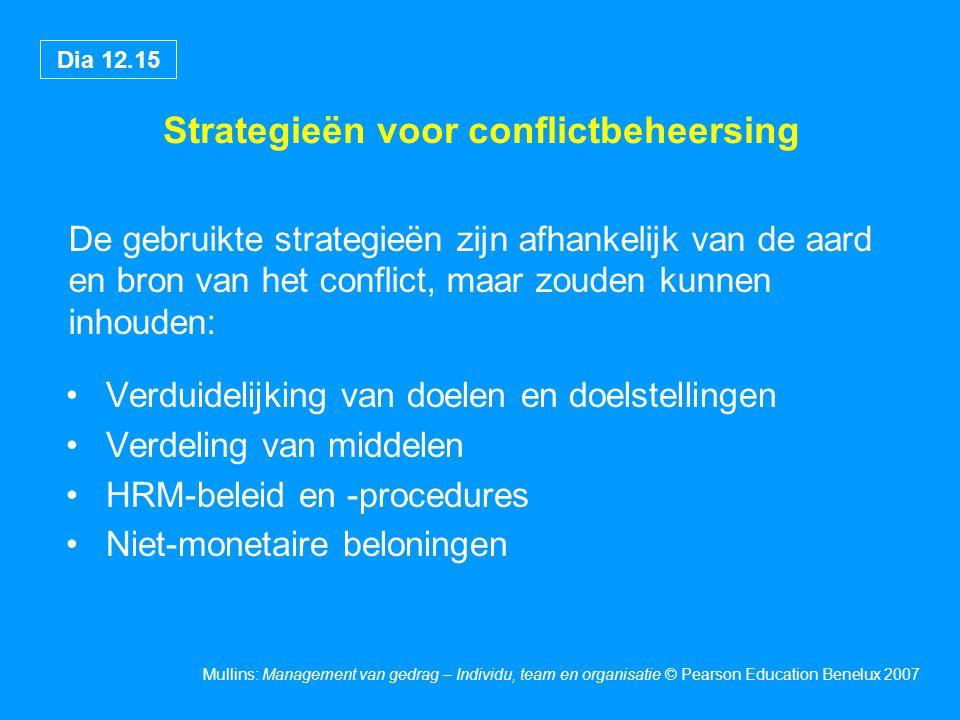 Dia 12.15 Mullins: Management van gedrag – Individu, team en organisatie © Pearson Education Benelux 2007 Strategieën voor conflictbeheersing De gebru