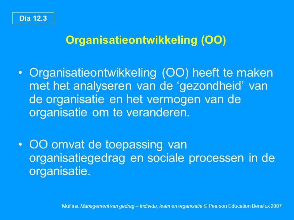 Dia 12.3 Mullins: Management van gedrag – Individu, team en organisatie © Pearson Education Benelux 2007 Organisatieontwikkeling (OO) Organisatieontwi