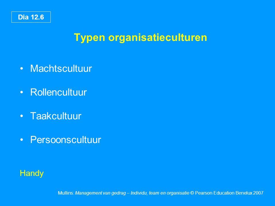Dia 12.7 Mullins: Management van gedrag – Individu, team en organisatie © Pearson Education Benelux 2007 Invloeden op de ontwikkeling van cultuur Geschiedenis Primaire functie en technologie Doelen en doelstellingen Omvang Locatie Management en staf De omgeving