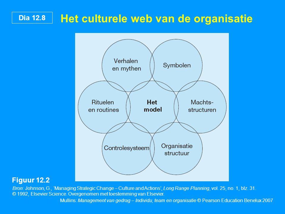 Dia 12.8 Mullins: Management van gedrag – Individu, team en organisatie © Pearson Education Benelux 2007 Het culturele web van de organisatie Bron: Jo