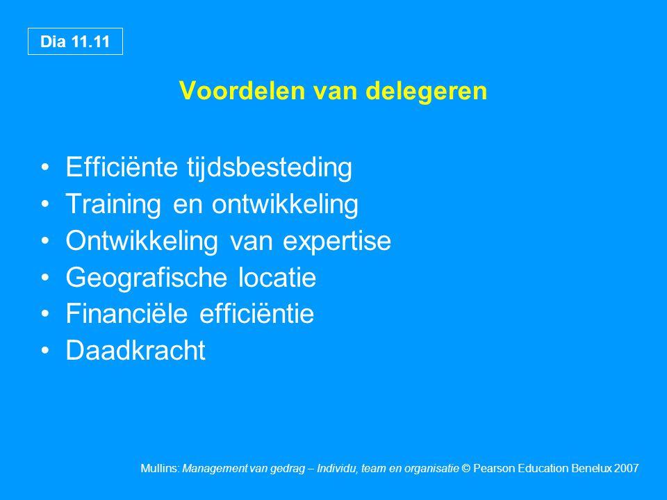 Dia 11.11 Mullins: Management van gedrag – Individu, team en organisatie © Pearson Education Benelux 2007 Voordelen van delegeren Efficiënte tijdsbesteding Training en ontwikkeling Ontwikkeling van expertise Geografische locatie Financiële efficiëntie Daadkracht