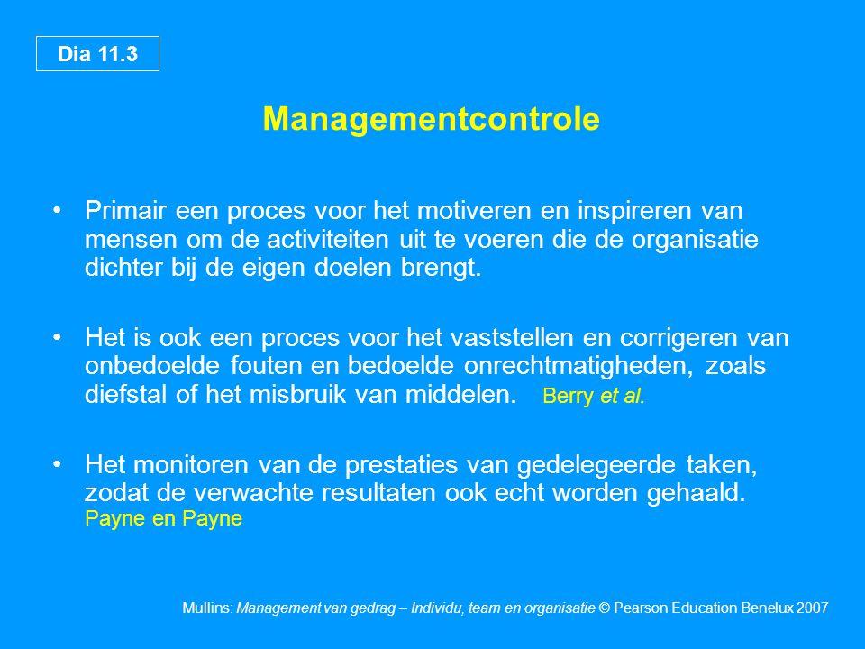 Dia 11.3 Mullins: Management van gedrag – Individu, team en organisatie © Pearson Education Benelux 2007 Managementcontrole Primair een proces voor het motiveren en inspireren van mensen om de activiteiten uit te voeren die de organisatie dichter bij de eigen doelen brengt.