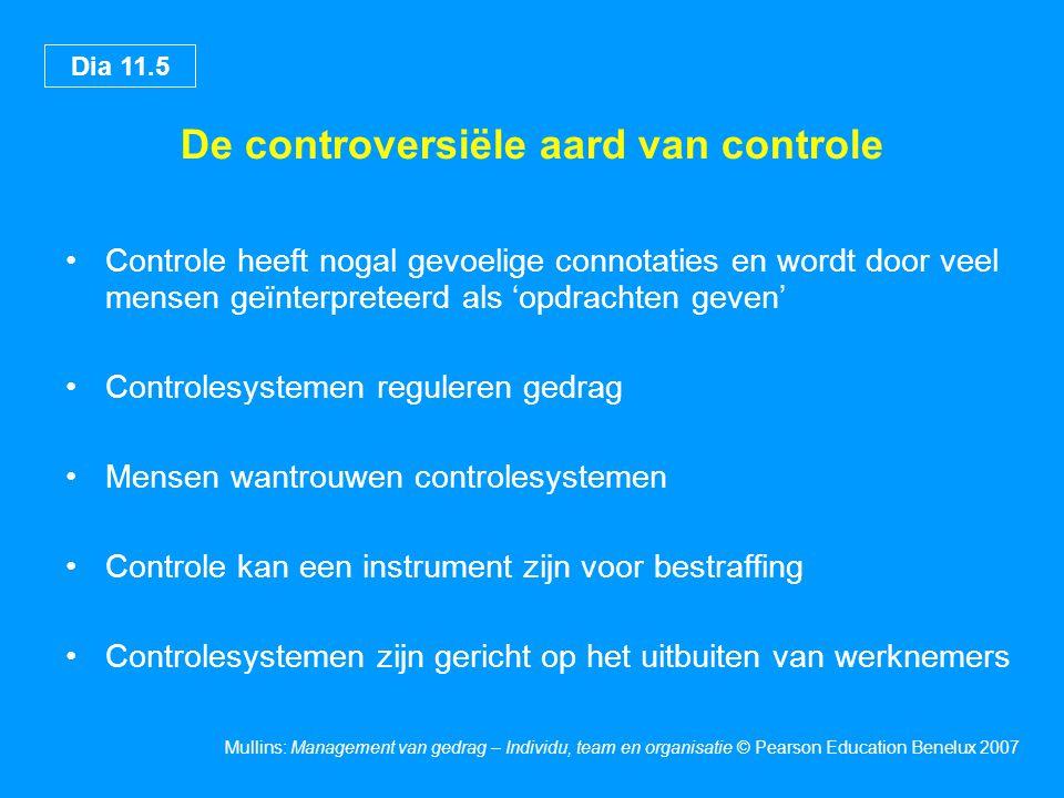 Dia 11.5 Mullins: Management van gedrag – Individu, team en organisatie © Pearson Education Benelux 2007 De controversiële aard van controle Controle
