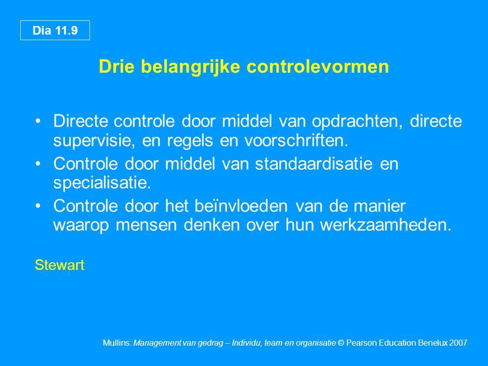 Dia 11.9 Mullins: Management van gedrag – Individu, team en organisatie © Pearson Education Benelux 2007 Drie belangrijke controlevormen Directe controle door middel van opdrachten, directe supervisie, en regels en voorschriften.