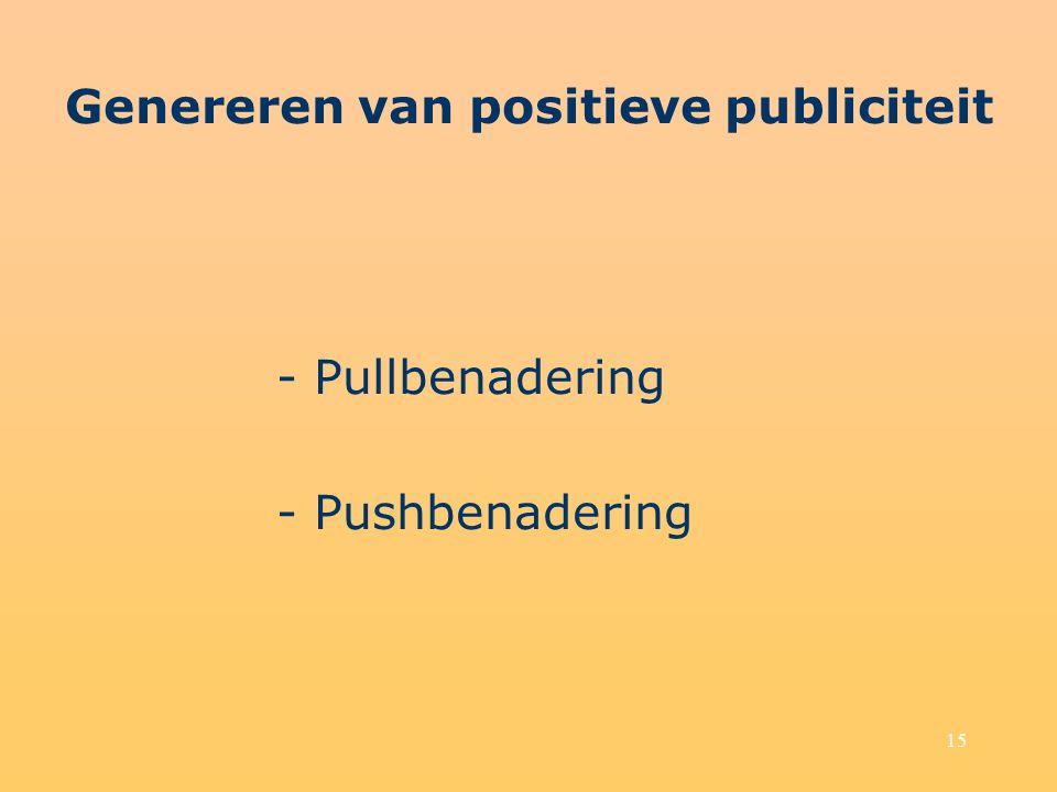 15 Genereren van positieve publiciteit - Pullbenadering - Pushbenadering