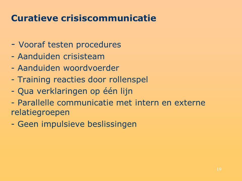 19 Curatieve crisiscommunicatie - Vooraf testen procedures - Aanduiden crisisteam - Aanduiden woordvoerder - Training reacties door rollenspel - Qua verklaringen op één lijn - Parallelle communicatie met intern en externe relatiegroepen - Geen impulsieve beslissingen