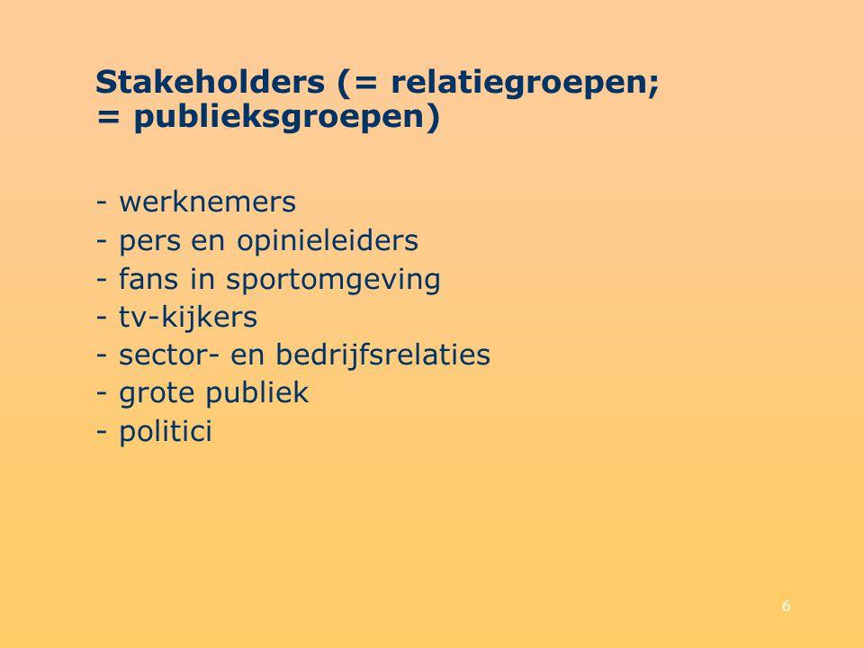 6 Stakeholders (= relatiegroepen; = publieksgroepen) - werknemers - pers en opinieleiders - fans in sportomgeving - tv-kijkers - sector- en bedrijfsrelaties - grote publiek - politici