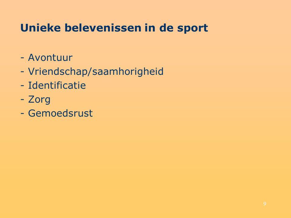 10 Unieke sfeer van de sportomgeving - Atleten - Vlucht uit het alledaagse - Catharsis - Sociale integratie en gemeenschapsgevoel - Muziek - Vaste rituelen en ceremonie - Persoonlijke identificatie - Mascotte