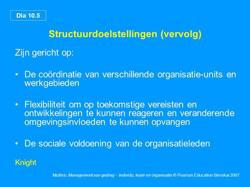 Dia 10.6 Mullins: Management van gedrag – Individu, team en organisatie © Pearson Education Benelux 2007 Organisatieniveaus Technische niveau – omvat De specifieke operationele activiteiten De uitvoering van de afzonderlijke taken De prestaties van de technische functie Managementniveau – omvat De coördinatie en integratie van de werktaken die op het technische niveau worden verricht Gemeenschappelijke niveau – omvat De algemene doelstellingen en het werk van de organisatie als geheel