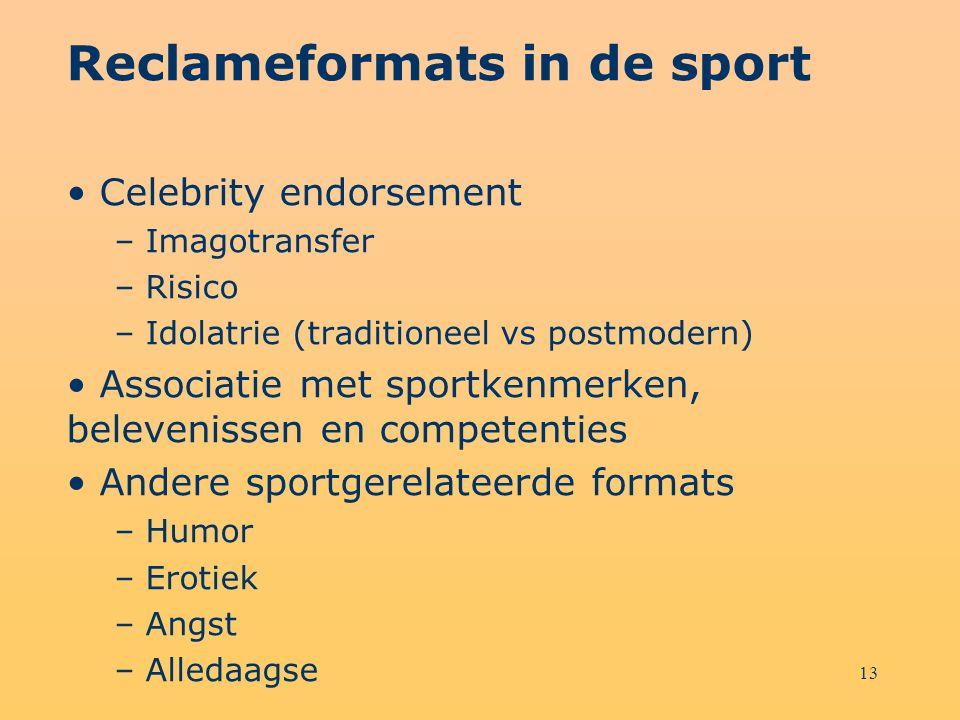 13 Reclameformats in de sport Celebrity endorsement – Imagotransfer – Risico – Idolatrie (traditioneel vs postmodern) Associatie met sportkenmerken, b