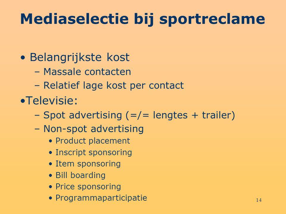 14 Mediaselectie bij sportreclame Belangrijkste kost – Massale contacten – Relatief lage kost per contact Televisie: – Spot advertising (=/= lengtes +