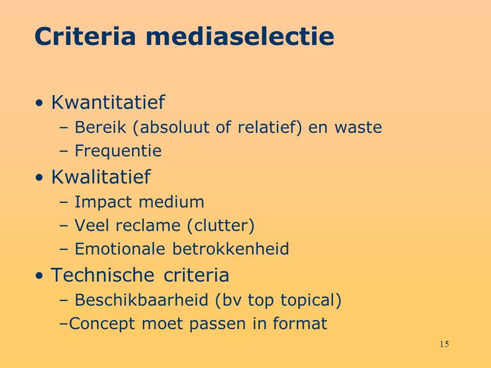 15 Criteria mediaselectie Kwantitatief – Bereik (absoluut of relatief) en waste – Frequentie Kwalitatief – Impact medium – Veel reclame (clutter) – Em