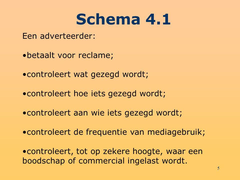 5 Schema 4.1 Een adverteerder: betaalt voor reclame; controleert wat gezegd wordt; controleert hoe iets gezegd wordt; controleert aan wie iets gezegd