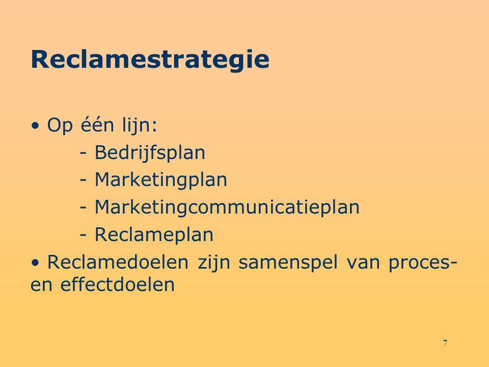 7 Reclamestrategie Op één lijn: - Bedrijfsplan - Marketingplan - Marketingcommunicatieplan - Reclameplan Reclamedoelen zijn samenspel van proces- en e