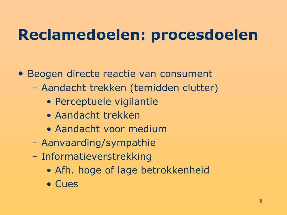 8 Reclamedoelen: procesdoelen Beogen directe reactie van consument – Aandacht trekken (temidden clutter) Perceptuele vigilantie Aandacht trekken Aanda