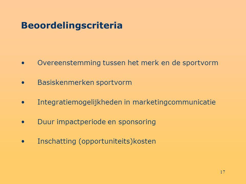 17 Beoordelingscriteria Overeenstemming tussen het merk en de sportvorm Basiskenmerken sportvorm Integratiemogelijkheden in marketingcommunicatie Duur