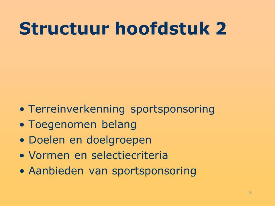 3 Leerdoelen Na bestudering van dit hoofdstuk kun je toelichten waarom sportsponsoring een snelgroeiend instrument van marketingcommunicatie is; heb je inzicht in de doelen en doelgroepen van marketingcommunicatie die sportsponsoring bereikt; kun je aan de hand van criteria verschillende sportsponsoringvormen beoordelen; kun je, als verantwoordelijke van een sportsponsoringorganisatie, op een gestructureerde manier potentiële sponsors benaderen.
