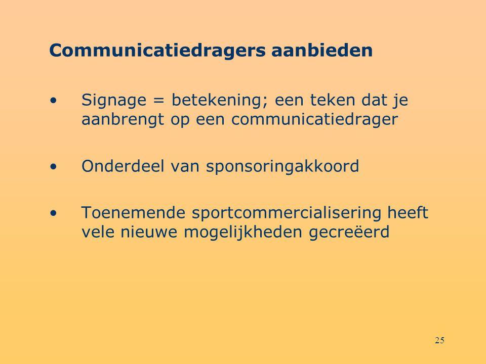 25 Communicatiedragers aanbieden Signage = betekening; een teken dat je aanbrengt op een communicatiedrager Onderdeel van sponsoringakkoord Toenemende