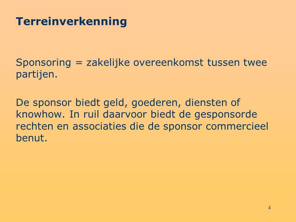 4 Terreinverkenning Sponsoring = zakelijke overeenkomst tussen twee partijen. De sponsor biedt geld, goederen, diensten of knowhow. In ruil daarvoor b