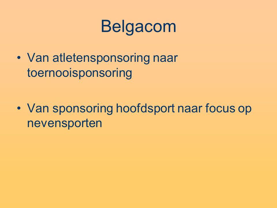 Belgacom Van atletensponsoring naar toernooisponsoring Van sponsoring hoofdsport naar focus op nevensporten