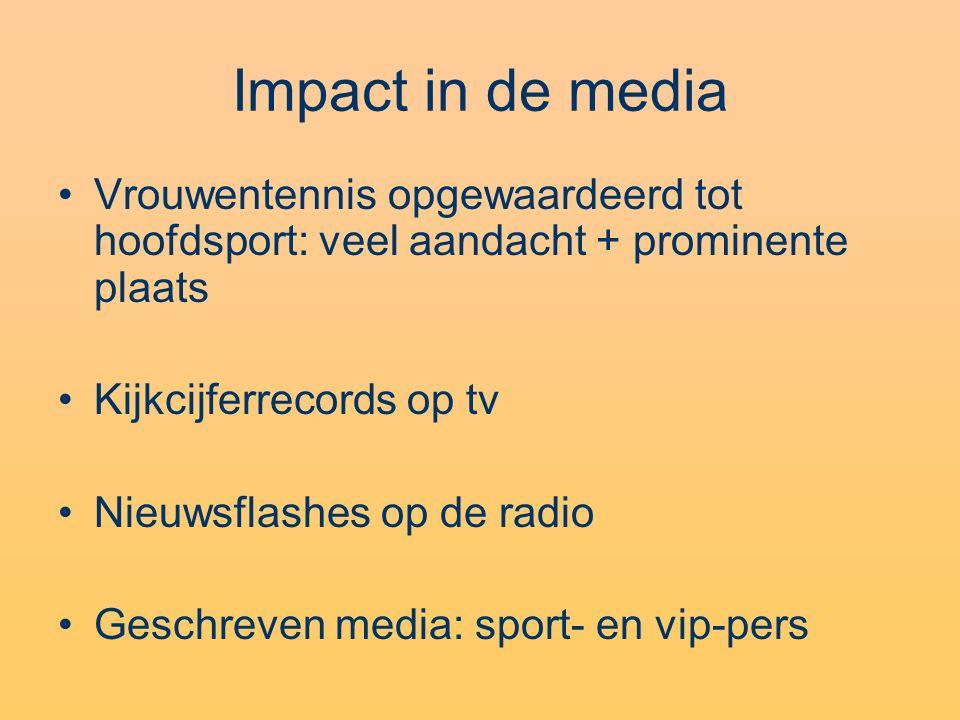 Impact in de media Vrouwentennis opgewaardeerd tot hoofdsport: veel aandacht + prominente plaats Kijkcijferrecords op tv Nieuwsflashes op de radio Ges