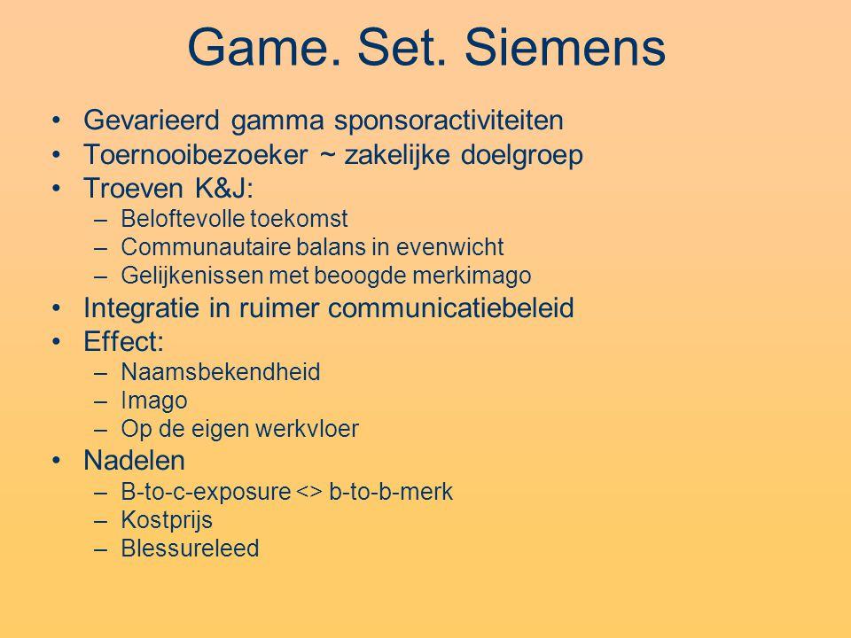 Game. Set. Siemens Gevarieerd gamma sponsoractiviteiten Toernooibezoeker ~ zakelijke doelgroep Troeven K&J: –Beloftevolle toekomst –Communautaire bala