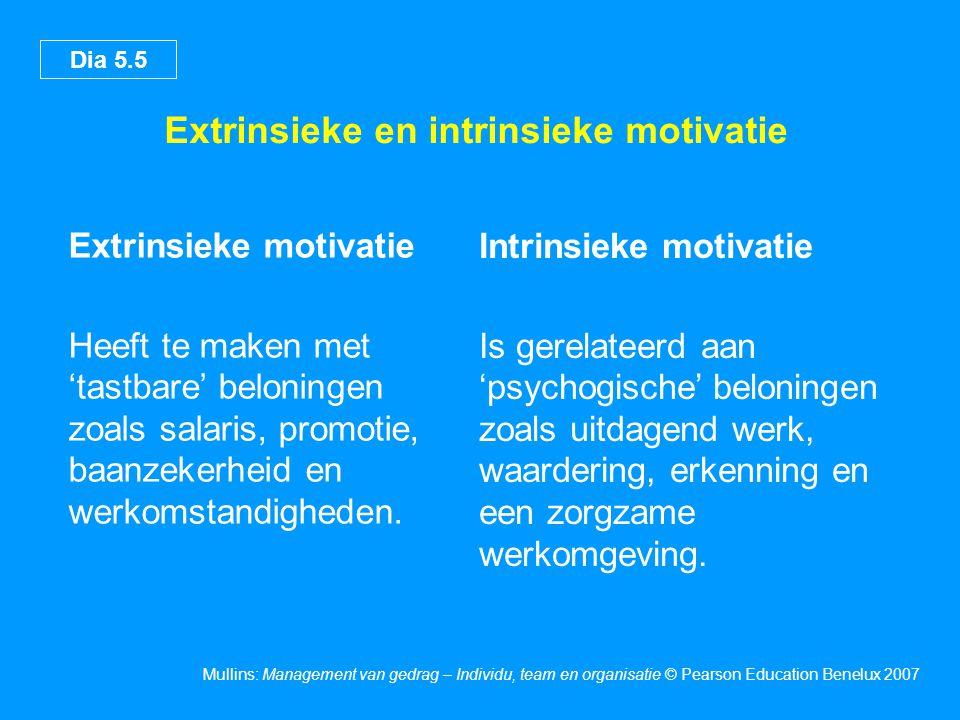 Dia 5.5 Mullins: Management van gedrag – Individu, team en organisatie © Pearson Education Benelux 2007 Extrinsieke en intrinsieke motivatie Extrinsieke motivatie Heeft te maken met 'tastbare' beloningen zoals salaris, promotie, baanzekerheid en werkomstandigheden.