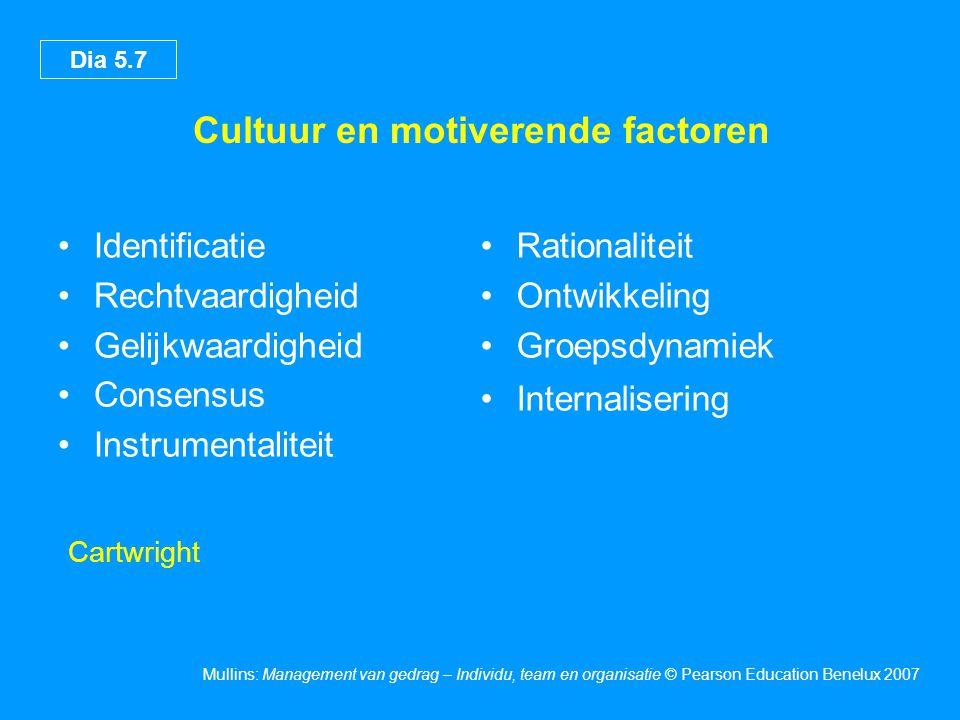 Dia 5.7 Mullins: Management van gedrag – Individu, team en organisatie © Pearson Education Benelux 2007 Cultuur en motiverende factoren Identificatie Rechtvaardigheid Gelijkwaardigheid Consensus Instrumentaliteit Rationaliteit Ontwikkeling Groepsdynamiek Internalisering Cartwright