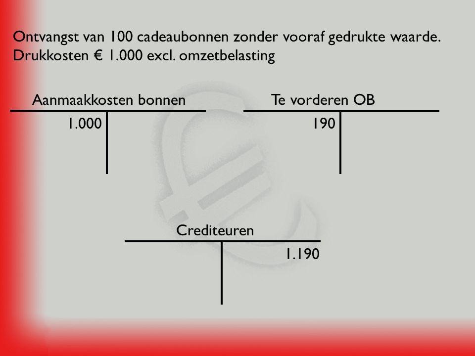 Kas 2.856Contante verkoop van goederen € 2.000 excl.