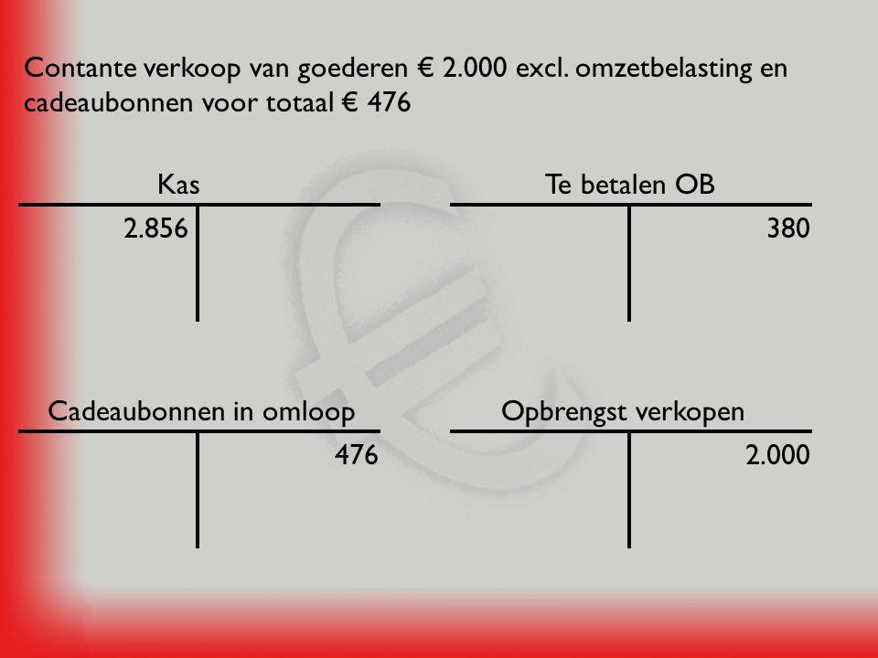 Kas Contante verkoop van goederen € 400 excl.