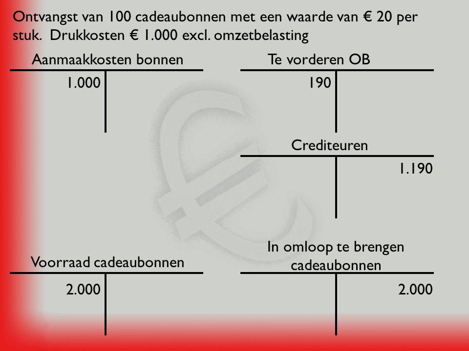 Kas 500Contante verkoop van cadeaubonnen € 500 Cadeaubonnen in omloop 500 Voorraad cadeaubonnen 500 In omloop te brengen cadeaubonnen 500