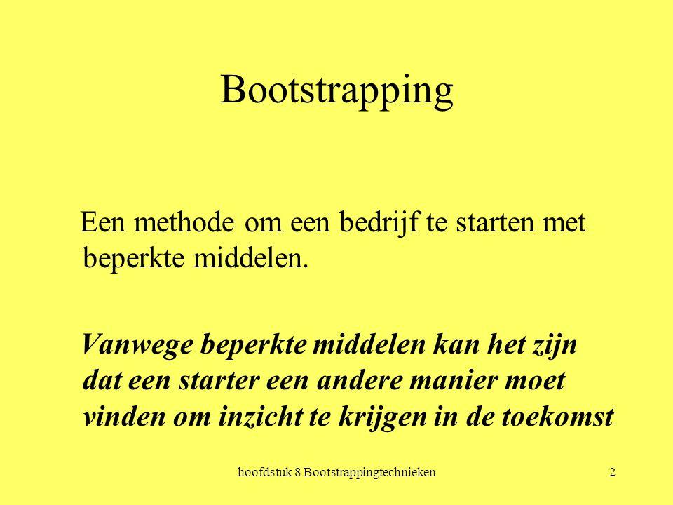 hoofdstuk 8 Bootstrappingtechnieken2 Bootstrapping Een methode om een bedrijf te starten met beperkte middelen.
