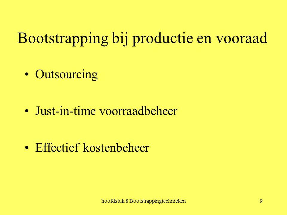 hoofdstuk 8 Bootstrappingtechnieken9 Bootstrapping bij productie en vooraad Outsourcing Just-in-time voorraadbeheer Effectief kostenbeheer