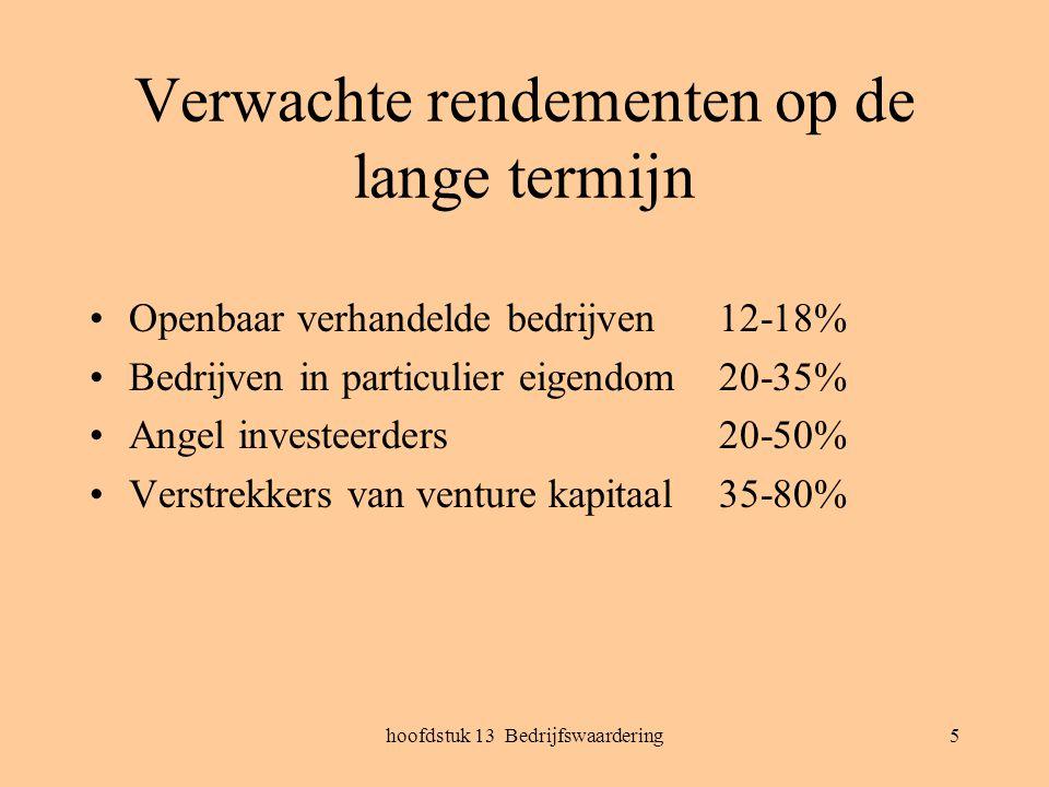 hoofdstuk 13 Bedrijfswaardering5 Verwachte rendementen op de lange termijn Openbaar verhandelde bedrijven12-18% Bedrijven in particulier eigendom20-35