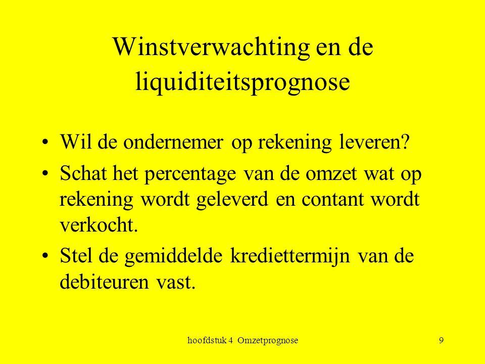 hoofdstuk 4 Omzetprognose9 Winstverwachting en de liquiditeitsprognose Wil de ondernemer op rekening leveren? Schat het percentage van de omzet wat op
