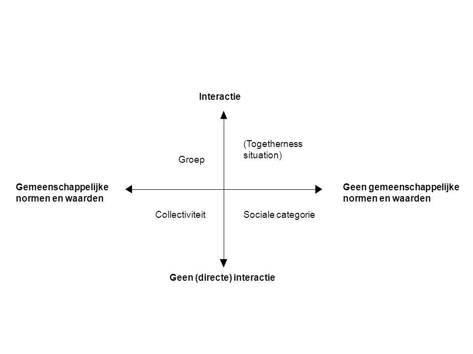 Interactie Geen (directe) interactie Geen gemeenschappelijke normen en waarden Gemeenschappelijke normen en waarden (Togetherness situation) Sociale categorieCollectiviteit Groep