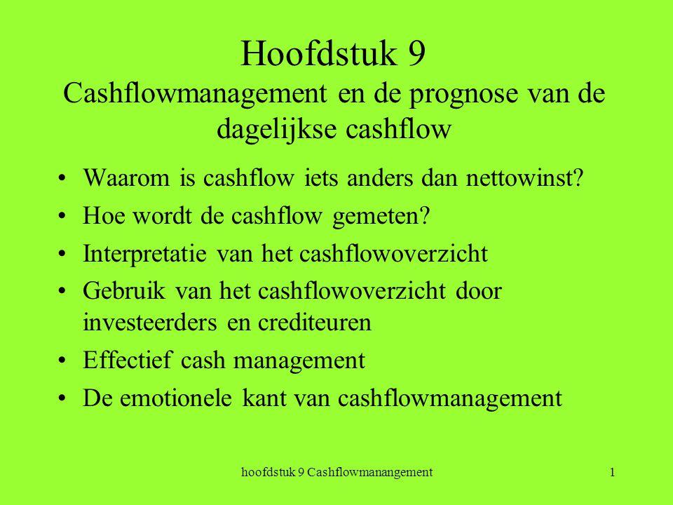 hoofdstuk 9 Cashflowmanangement1 Hoofdstuk 9 Cashflowmanagement en de prognose van de dagelijkse cashflow Waarom is cashflow iets anders dan nettowinst.