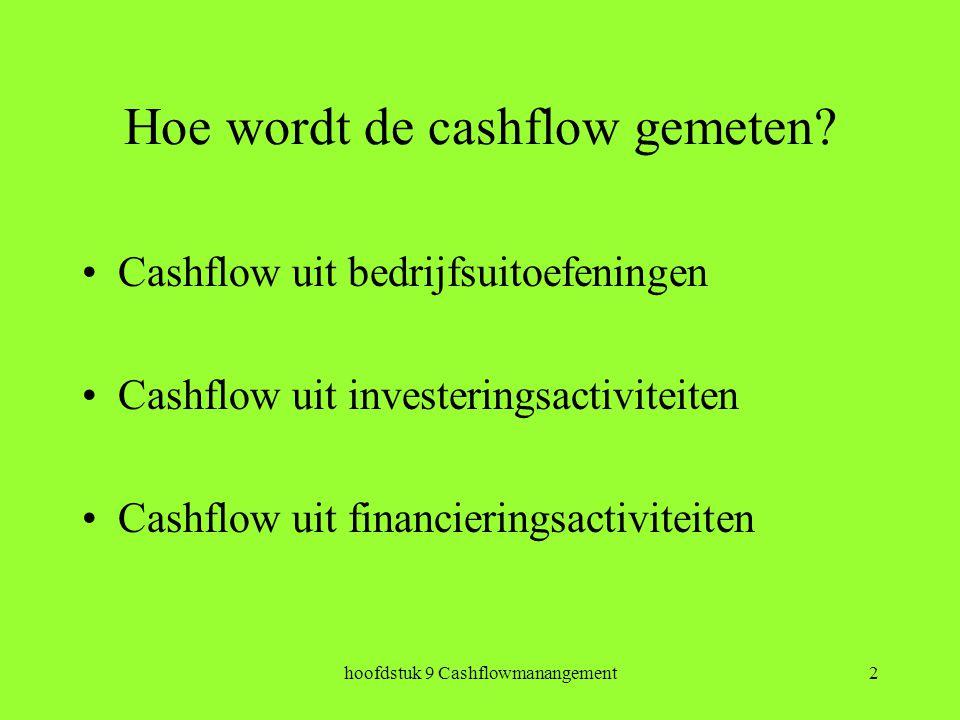 hoofdstuk 9 Cashflowmanangement2 Hoe wordt de cashflow gemeten.