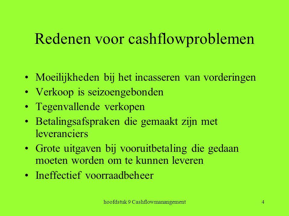 hoofdstuk 9 Cashflowmanangement4 Redenen voor cashflowproblemen Moeilijkheden bij het incasseren van vorderingen Verkoop is seizoengebonden Tegenvallende verkopen Betalingsafspraken die gemaakt zijn met leveranciers Grote uitgaven bij vooruitbetaling die gedaan moeten worden om te kunnen leveren Ineffectief voorraadbeheer