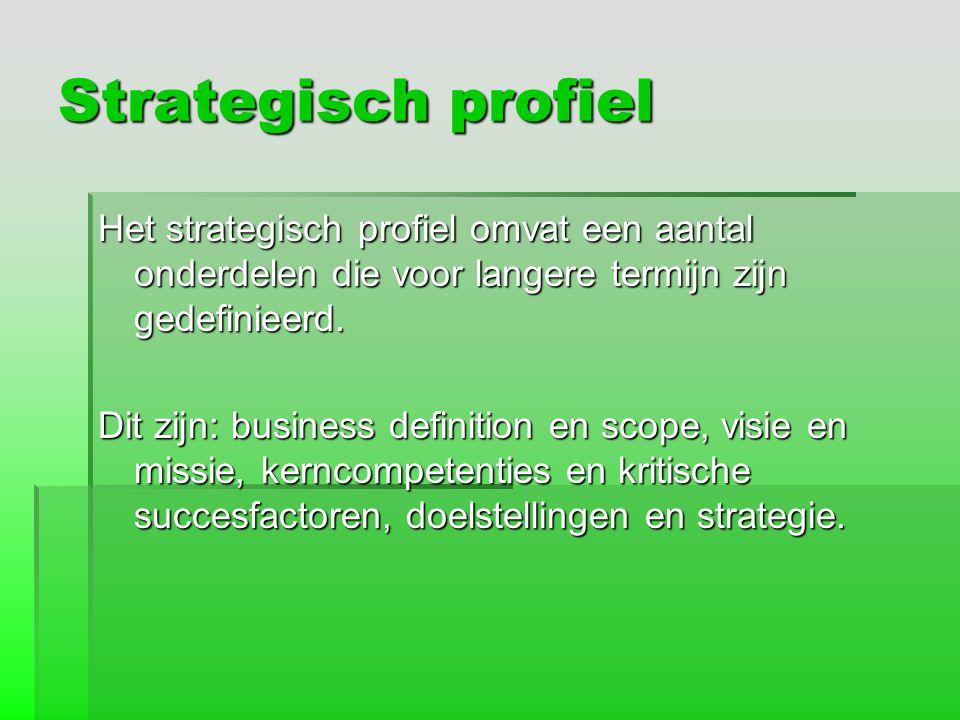 Strategisch profiel Het strategisch profiel omvat een aantal onderdelen die voor langere termijn zijn gedefinieerd. Dit zijn: business definition en s