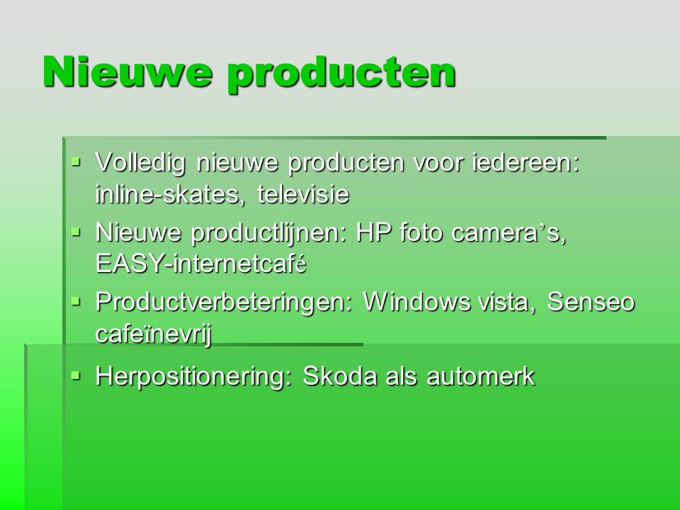 Nieuwe producten  Volledig nieuwe producten voor iedereen: inline-skates, televisie  Nieuwe productlijnen: HP foto camera ' s, EASY-internetcaf é 
