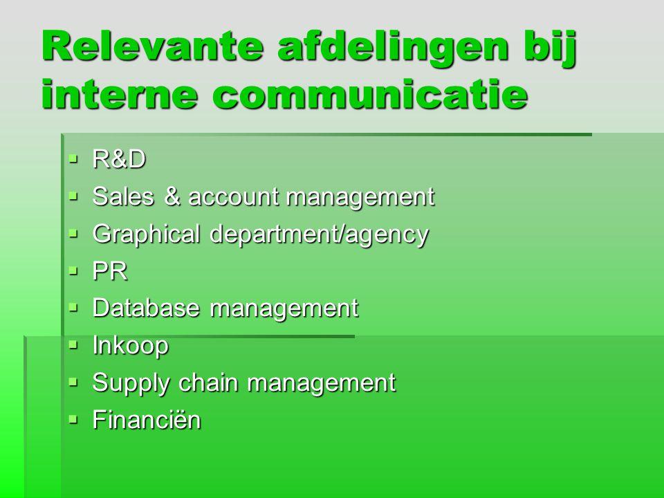 Relevante afdelingen bij interne communicatie  R&D  Sales & account management  Graphical department/agency  PR  Database management  Inkoop  S