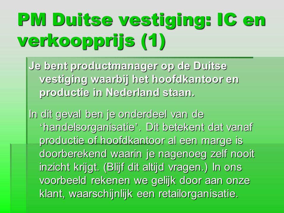 PM Duitse vestiging: IC en verkoopprijs (1) Je bent productmanager op de Duitse vestiging waarbij het hoofdkantoor en productie in Nederland staan. In