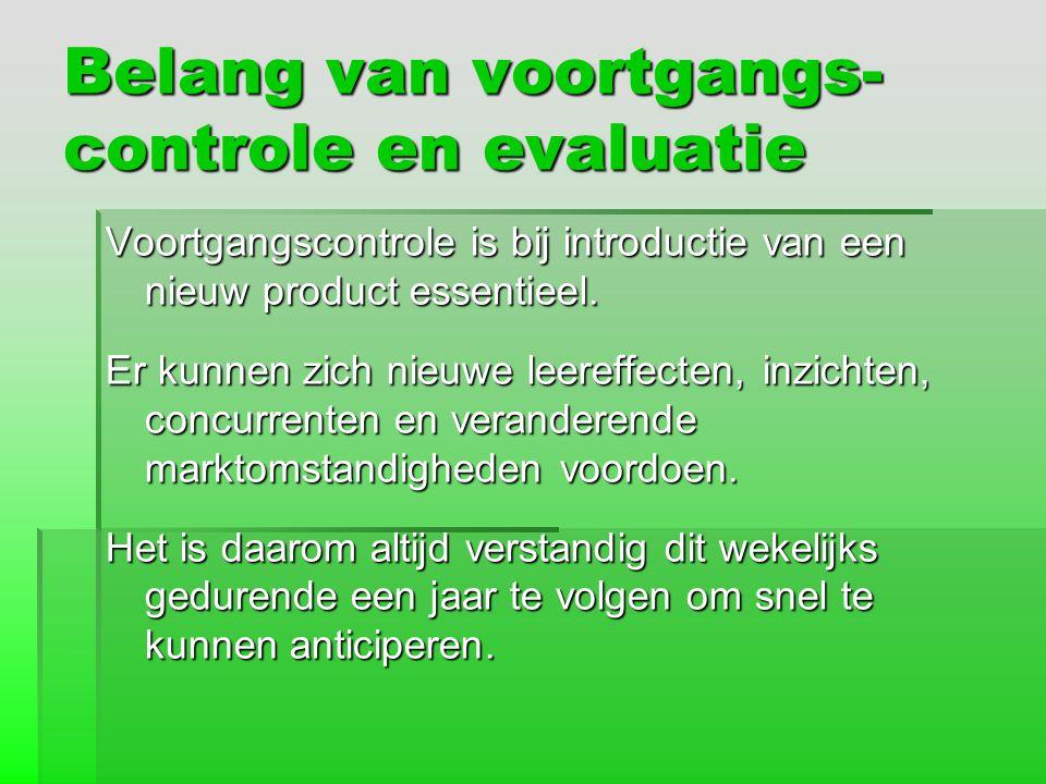 Belang van voortgangs- controle en evaluatie Voortgangscontrole is bij introductie van een nieuw product essentieel. Er kunnen zich nieuwe leereffecte