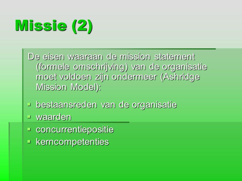 Missie (2) De eisen waaraan de mission statement (formele omschrijving) van de organisatie moet voldoen zijn ondermeer (Ashridge Mission Model): De ei