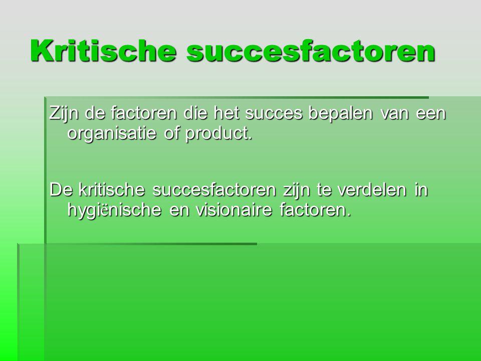 Kritische succesfactoren Zijn de factoren die het succes bepalen van een organisatie of product. De kritische succesfactoren zijn te verdelen in hygi